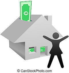 A symbol person celebrates working at home income, house as bank with savings, or increase in value of home.