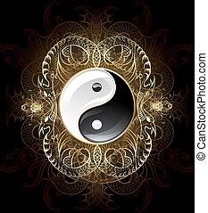 Symbol Yinyang (Yin-yang) - yin yang symbol on a dark...