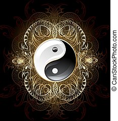 yin yang symbol on a dark background , decorated with gold abstract pattern of abstract beings.