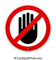symbol, zatrzymywać, ręka
