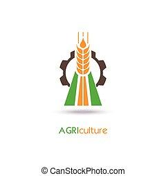 symbol., zeichen, schablone, ikone, logo, landwirtschaft, oder, design.