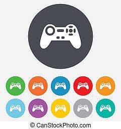 symbol., zeichen, spiel, video, steuerknüppel, icon.