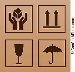 symbol, zerbrechlich, pappe