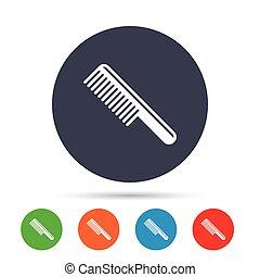 symbol., znak, włosy, fryzjer, icon., grzebień