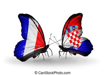 symbol, zwei, verwandtschaft, frankreich, vlinders, flaggen...