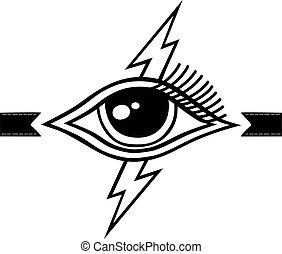 symbole, éclair, oeil, thème, boulon