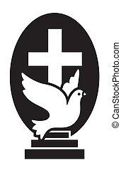 symbole, église, vecteur, croix, logo, isolé, foi, amour, chrétiens, voler, colombe, plat, espoir, escaliers., icône, moderne, jesus.