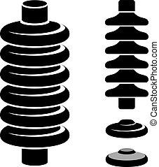 symbole, élevé, électrique, tension, isolateur, noir
