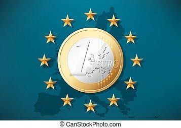symbole, -, 1, monnaie, drapeau, eu, euro