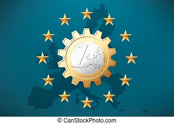 symbole, -, 1, monnaie, euro, européen