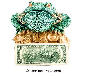 symbole, 2, dollar, richesse, grenouille