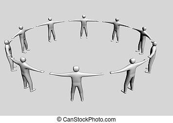 symbole, 3d, équipe