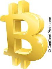symbole, 3d, bitcoin, or, signe
