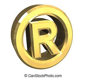 symbole, (3d), enregistré, or
