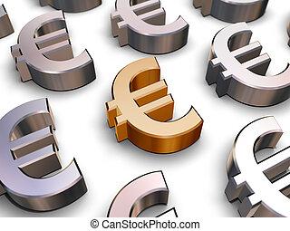 symbole, 3d, euro