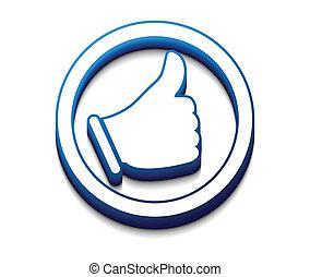 symbole, 3d, like/thumbs, haut, lustré
