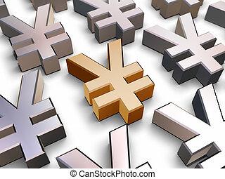 symbole, 3d, yen
