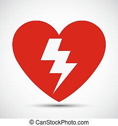 symbole, aed, vecteur, isoler, signe, coeur, fond, icône, blanc, illustration, rouges, eps.10