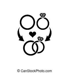 symbole, anneaux, mariage
