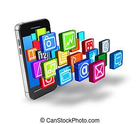 symbole, anwendungen, smartphone, ikone