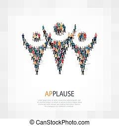 symbole, applaudissements, foule, gens