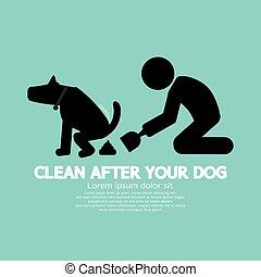 symbole, après, haut, illustration, chien, vecteur, propre