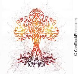 symbole, arbre, fond, yggdrasil., structuré, vie, décoratif