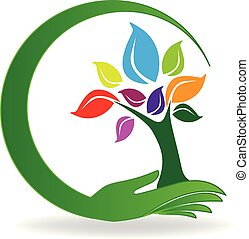 symbole, arbre, main, vecteur, logo, soin