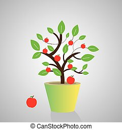 symbole, arbre, pomme