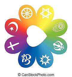symbole, arc-en-ciel, fleur, religions mondiales, symboles, ...