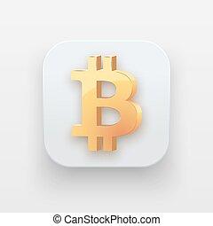 symbole argent, icon., bitcoin, or