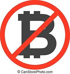 symbole, arrêt, bitcoin, signe, traversé, milieu noir, rouges