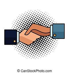 symbole, art, poignée main, pop, hommes affaires