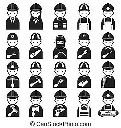 symbole, artisan, ensemble, ouvrier, icônes