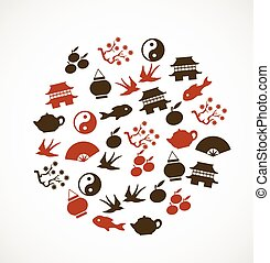 symbole, asiatisch