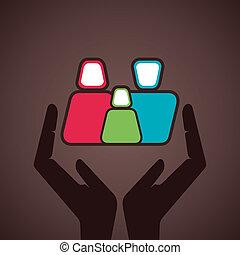 symbole, assurer, famille, ton