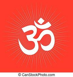 symbole, aum, ou, hindouisme, om