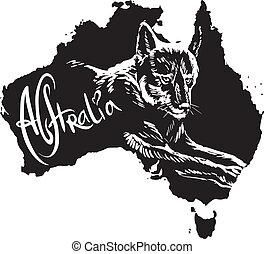 symbole, australien, dingo