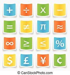 symbole, autocollants, math