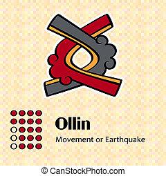 symbole, aztèque, ollin