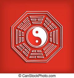 symbole, bagua, chinois, rouges