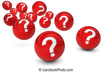 symbole, balles, rouges, questions, marque