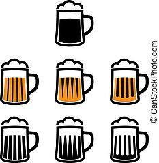 symbole, bier, vektor, becher