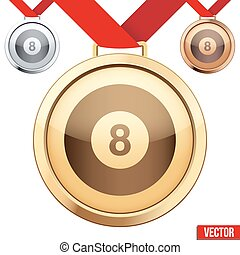symbole, billard, médaille, intérieur, or