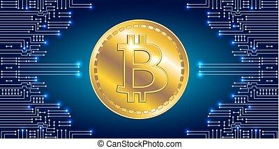 symbole, bitcoin, virtuel, arrière-plan., circuit, monnaie, électronique