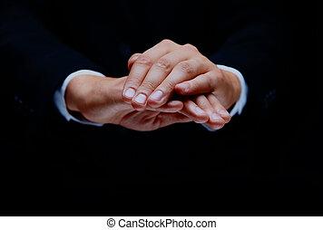 symbole, black., isolé, main