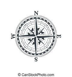 symbole, blanc, classique, rose, vent, compas, vendange, icône