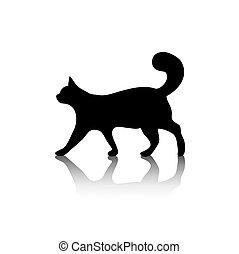 symbole, blanc, icône, chat