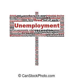 symbole, blanc, isolé, fond, chômage
