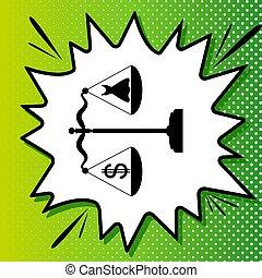 symbole, blanc, noir, popart, vert, balances., icône, fond, dollar, robe, spots., illustration., éclaboussure